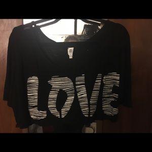 NWOT Love zebra print cropped tee